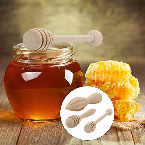 Cucharas de miel, 3 piezas de alta calidad Honey Stir Bar Mezclador Manija Tarro Cuchara Honey Stick Cucharas de miel para el hogar