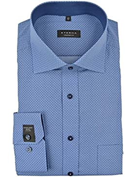ETERNA Comfort Fit Hemd super langer Arm Muster dunkelblau AL 72