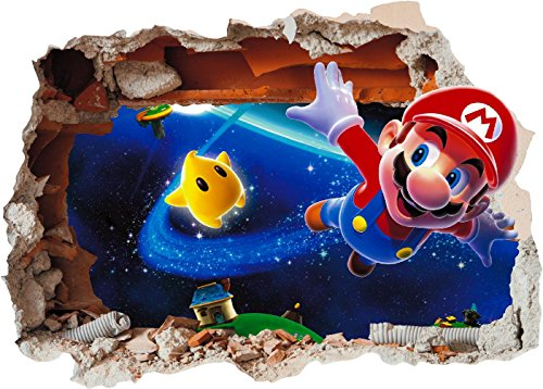 Super Mario Brothers 4Art Wand Loch bedruckt Vinyl Aufkleber Aufkleber Kinder Schlafzimmer (ss40020), Extra Large 800 x 575mm