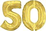 2 riesige Folienballon mit der Zahl * 50 * für Goldene Hochzeit, Jubiläum oder 50. Geburtstag // 106cm // Gold Motto Party Feier Deko fünfzig
