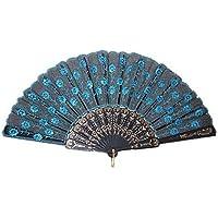 SODIAL(R) eventail pliant Modele de paon En bleu