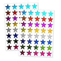 8 Colours, 1000 Pack, Foil Star Metallic Stickers, 15mm
