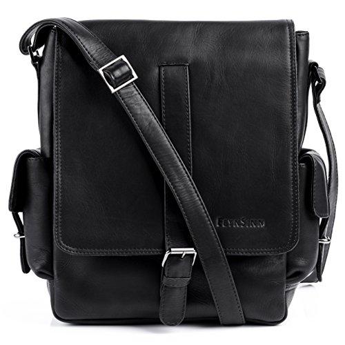 Messenger Bag ASHTON von FEYNSINN, Kuriertasche (ipad) Schwarz - Umhängetasche (laptop bis 11 Zoll) echt Leder (26 x 34 x 10 cm)