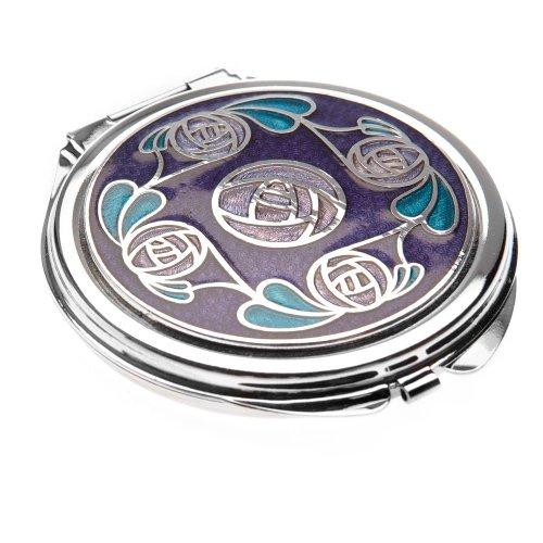 Celtic Glass Design Sea Gems Miroir de poche Motif couronne de roses par Mackintosh