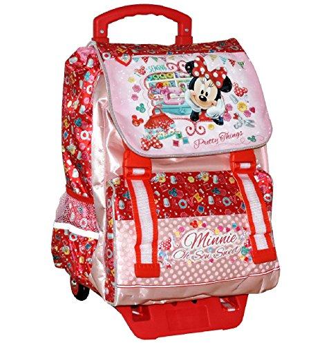 Zaino trolley scuola elementare minnie disney estensibile cartella bambina con ruote