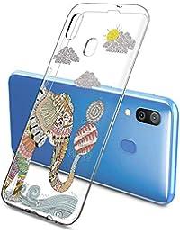 Suhctup Compatible con Samsung Galaxy J6 Prime/J6 Plus/J610 Funda de Transparente Silicona con Dibujos Lindo Animados Animal Diseño Patrón Cárcasa Suave Ultrafina TPU Antigolpes Caso, Elefante 1