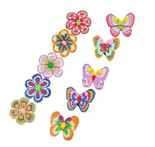 10Blume Schmetterling Schule Snap Haar Clip Haarspangen Griff Haarspangen Haarklammern Accessoires für Kinder Mädchen (Farbe kann variieren) (Kinder Haar Accessoires)