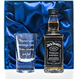 Personalised 1oz Shot Glass & Jack Daniels in Silk Gift Box For 18th/21st/30th/Birthday/Best Man/Usher/Wedding Gift