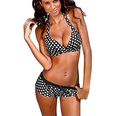 CYBERRY.M Maillot de Bain Été Femme 2 Pièces Push Up Polka-dot Plage Bikini Bandeau Jumpsuit (M, Noir)