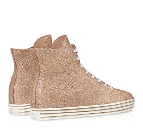 Sneakers Hogan Rebel R182 in suede glitter rosa - Codice modello: HXW1820Q400BTQM013 Rosa
