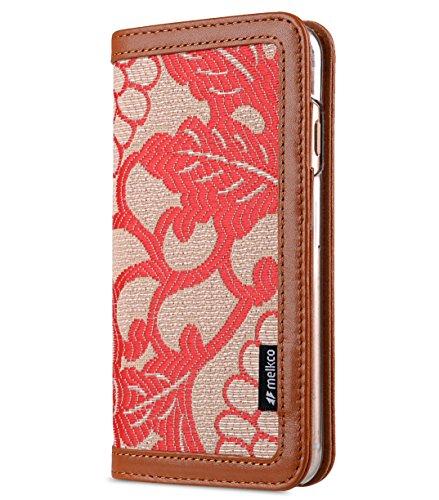 Melkco Heritage Serie (Prestige Collection) Buch Stil Premium Kuhleder Abdeckung mit 4 Kartenschlitz für Apple iPhone 6s Plus / 6 Plus 5.5 inch (Braun/Gelb Chrysanthemum) Braun / Rot Chrysanthemum