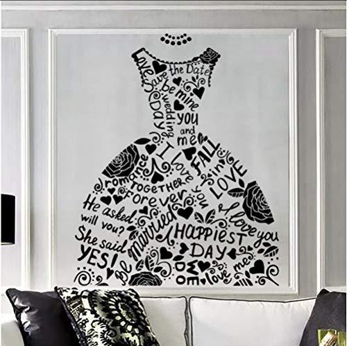 Mrhxly Mode Wandaufkleber Hochzeitskleid Brautgeschäft Wandtattoo Ehe Stil Wandkunst Fensterdekor Home Schlafzimmer Dekor58 * 68 Cm