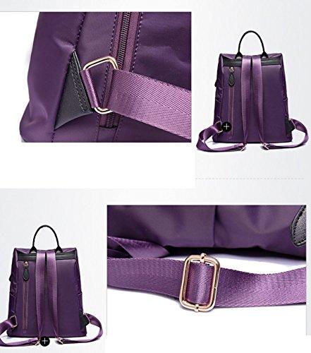 BAAFG Frauen Verteidigung Casual Tasche Einfache Nylon Schultertasche Mode Reise Rucksack Red