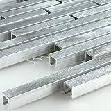 Aluminium Alu Metall Mosaik Fliesen Mono Silber Stripes