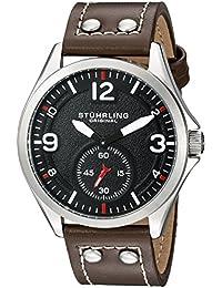 Stuhrling Original Tuskegee - Reloj de cuarzo, para hombre, con correa de cuero, color marrón