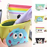 Cartoon Eye Pouch Stationery Pen Case Portable Cosmetic Makeup Toiletry Bath Storage Case For Multi-Purpose Use(1 Piece, Large) (Multi-Color)