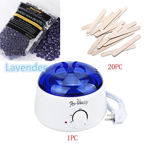 DRESS_start Haarentfernung Bean Abwischen Sticks Hot Wax Warmer Heizung Topf Enthaarungs Set (1x...