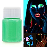 Salmue Vernice Fluorescente Colorato, Halloween Fluorescent Face Paint UV Glow Body Paint Pigment Luminoso Glow-in-The-Dark Trucco di Colore per Costumi Party Stage Festival Teatrale (Verde)