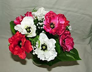"""Beautiful Artificial Silk Pink White & Red Anemone Bush with 9 large 4"""" Flower Heads- Home Wedding Anniversary Grave"""