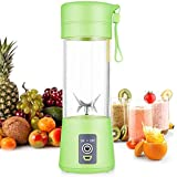 Personal Blender, Portable Juicer Cup/Electric Fruit Mixer/USB Juice Blender, Rechargeable, Six Blades In 3D for Superb Mixing, 380mL Green