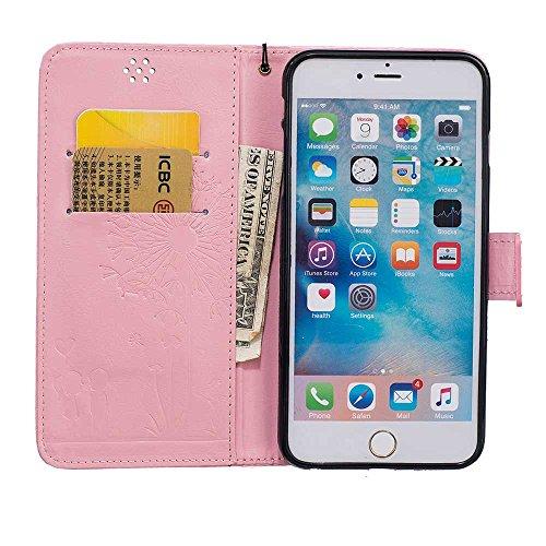 """Rabat Style iPhone 6S Plus Coque Cuir Portefeuille iPhone 6 Plus Case, Les amants et le pissenlit Embossage Motif Belle Mode Housse de Protection pour Apple iPhone 6 Plus 6S Plus 5.5"""" - Bleu Rose"""