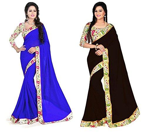 Aashi Saree Exclusive Combo Of Plain Chiffon Lacy Border Sarees (Blue & Brown)