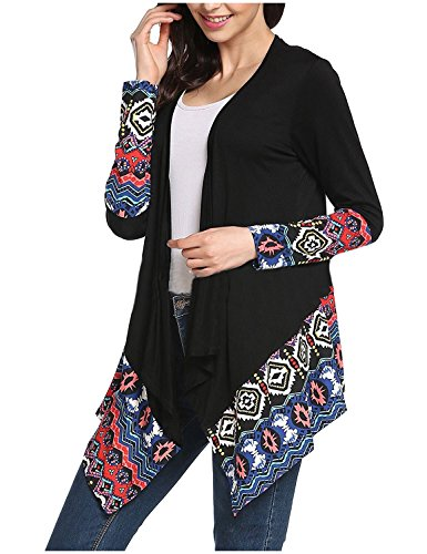 CuteRose Women Unique Hem Line Cozy Patchwork Casual Weekend Cardigan Black L (Womens Black Button Up Cardigan)