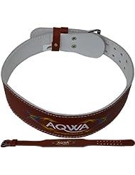 """aqwa 4""""Funda de piel cinturón de levantamiento de peso gimnasio Soporte de la espalda Entrenamiento Cinturones ejercicios de fitness culturismo Marrón marrón"""