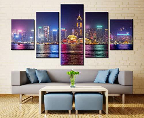 LIKEMAC 5 Panel Center Apartments Dallas Stadtbild Moderne Home Decor Leinwandbild Kunst HD Drucken Malerei Auf Leinwand Für Wohnzimmer