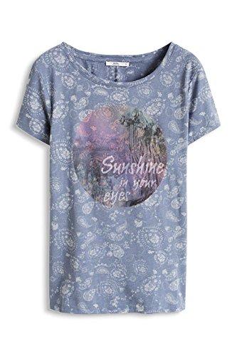 edc by Esprit Mit Leichter Transparenz, T-Shirt Femme Bleu (GREY BLUE 420)