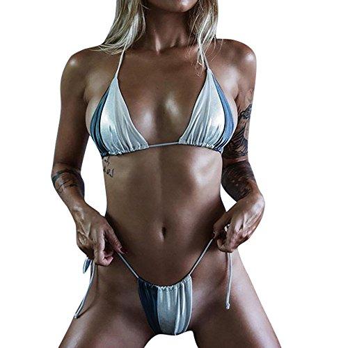 Maillot de bain Lonshell Bande de taille élevée maillots Solide bikini Set été Plage Argent