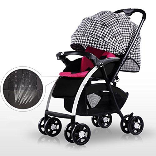 ERRU Cochecito Carritos con capazo Paisaje de alta cochecito de bebé/ puede sentarse o mentir dobló la carretilla multidireccional de dos ruedas de la cuatro-rueda del bebé(colores opcionales) Para los padres que quieren viajar a la moda ( Color : B )