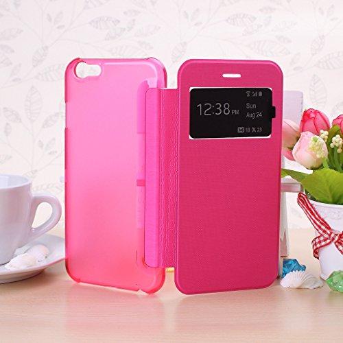 Wkae® iPhone 6S (4,7 Inch) h¨¹lle - Neue Smart-Fenster-Ansicht Flip Folio H¨¹lle f¨¹r iPhone 6 (nicht passen iPhone 6 Plus 5,5 Zoll, iPhone 5 5S 5C 4 4S) (wei?) Rosé