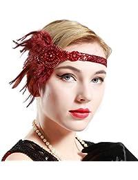 BABEYOND Años 20 Flapper Diadema de Plumas Diadema Gatsby Vintage Cinta  para el Pelo con Cuentas 04f66462c89d