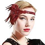 Babeyond Fascia Anni 20 Gatsby Flapper Headband Fascia Charleston con Piuma Anni 20 Fascia Capelli Gatsby (Vino Rosso)