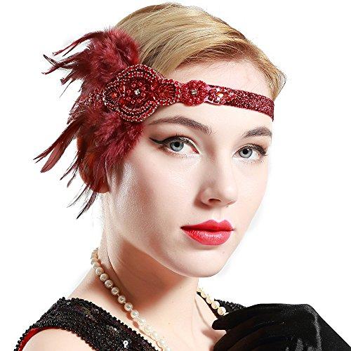 BABEYOND 1920s Stirnband Flapper Stirnbänder 1920er Jahre Große Gatsby Stil Brautfeder Kopfschmuck (Weinrot)