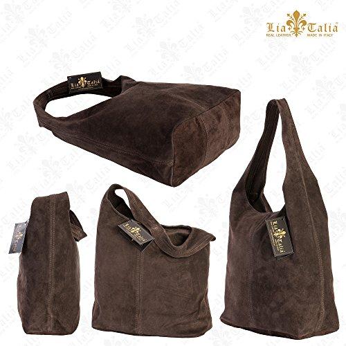 LiaTalia Große echte italienische Veloursledertasche-einzelner Schultergurt Hobo Nietentasche mit schützender Aufbewahrungstasche - Shay Rot