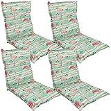 Diluma Niedriglehner Auflage Naxos für Gartenstühle 4er Set 98x49 cm Flamingo - 6 cm Starke Premium Stuhlauflage mit Komfortschaumkern - Sitzauflage Made in EU