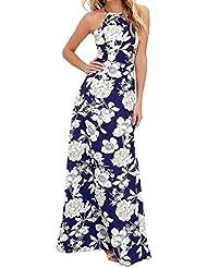 vestidos - Sannysis Fiesta de vestidos de Manga Larga, flor azul