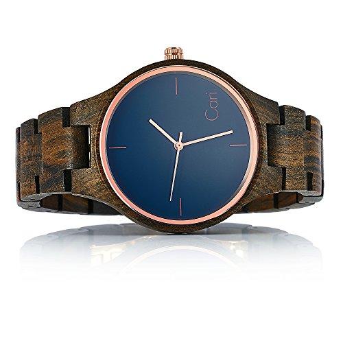 Cari Damen und Herren Holz Armbanduhr Oslo - Sandelholz mit Saphirglas und Schweizer Uhrwerk