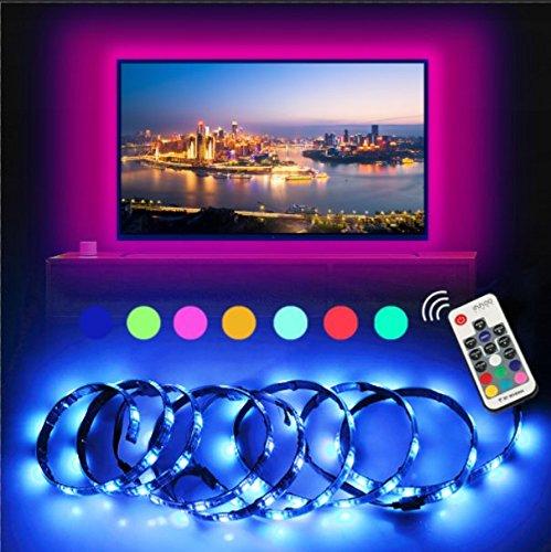 TVHintergrundbeleuchtung LED-Streifen anpassbare Hintergrundbeleuchtung Lichterkette mit vielen Farben, Fernbedienung und USB betriebenem 2 Meter für TV, Desktop ,Schreibtisch (Schwarz-schlafzimmer-schreibtisch)