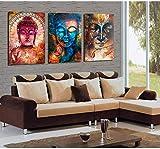 FYBSNDY 3 Panel Buddha Bild Porträt Wandkunst Bild Home Decoration Für Wohnzimmer Leinwand Bild Gemalt Auf Leinwand Kein Gestaltet 30 cm X 50 cm X 3