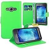Samsung Galaxy Xcover 3 Handy Tasche, FoneExpert® Wallet Case Flip Cover Hüllen Etui Ledertasche Lederhülle Premium Schutzhülle für Samsung Galaxy Xcover 3 (Grün)