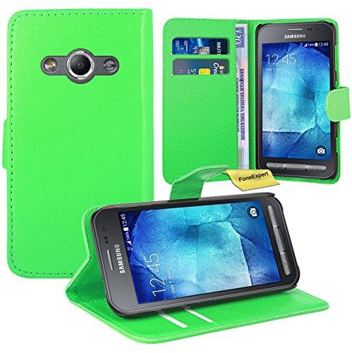 Preisvergleich Produktbild Samsung Galaxy Xcover 3 Handy Tasche, FoneExpert® Wallet Case Flip Cover Hüllen Etui Ledertasche Lederhülle Premium Schutzhülle für Samsung Galaxy Xcover 3 (Grün)