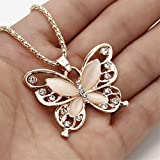 Elistelle Rhinestone Butterfly Necklace Jewelry Birthday Gifts for Women