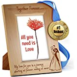 TiedRibbons® Karvachauth Gift Items Wooden Engraved Frame With Golden Medal   Karwa Gift For Husband   Karwachauth Special Gifts For Husband   Karwachauth Special Gifts For Mens