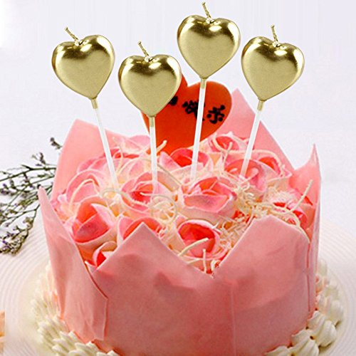 4 Pcs/set Creative Golden Star Love Heart Cake Topper Child Birthday Candle...