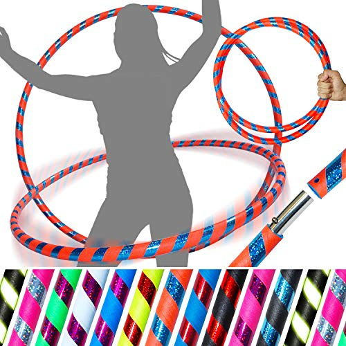 Pro HULA HOOP Reifen für Anfänger und Profis (10 Farben Ultra-Grip/Glitter Deco) Faltbarer TRAVEL Hula Hoop ideal für Hoop Dance, Fitness Training, Zirkus, Festivals! (Orange/Blau Glitter 100cm/25mm) - Hula-hoop Glitter