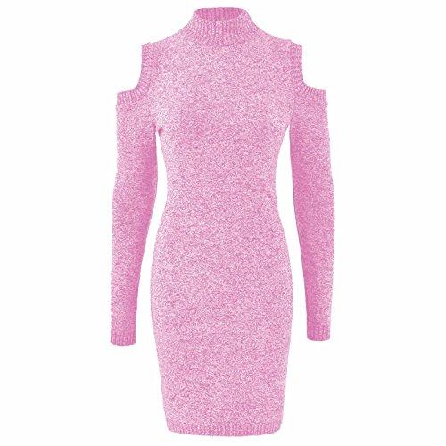 Mesdames tricoté tour de cou épaule froide Jumper Dress EUR Taille 36-42 Rose