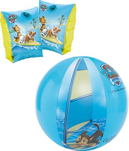 Carpeta Happy People PAW Patrol Schwimmhilfe für Kinder von 1-6 Jahre (11-30kg) Schwimmflügel Chase Rubble Marshall (Blau, Badespaß-Set 2tlg.)